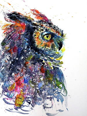 Great Horned Owl Wall Art - Painting - Great Horned Owl by Kovacs Anna Brigitta