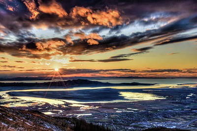 Photograph - Great Salt Lake Sunset by Bryan Carter