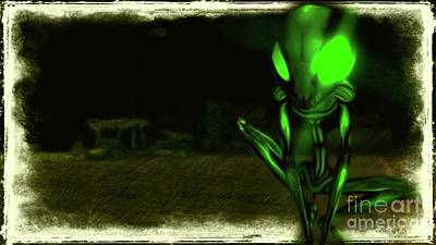Science Fiction Royalty-Free and Rights-Managed Images - Green Alien by Raphael Terra
