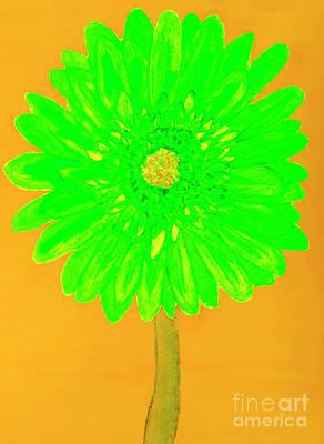 Painting - Green Gerbera, Painting by Irina Afonskaya