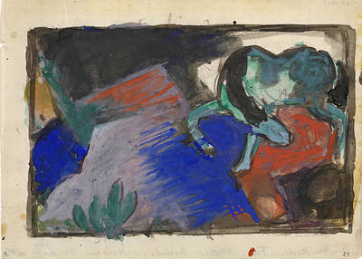 Franz Marc Drawing - Green Horse In Landscape by Franz Marc