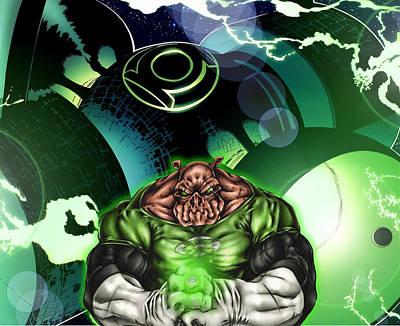 Green Digital Art - Green Lantern by Super Lovely