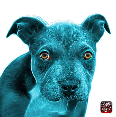 Painting - Cyan Pitbull Puppy Pop Art - 7085 Wb by James Ahn