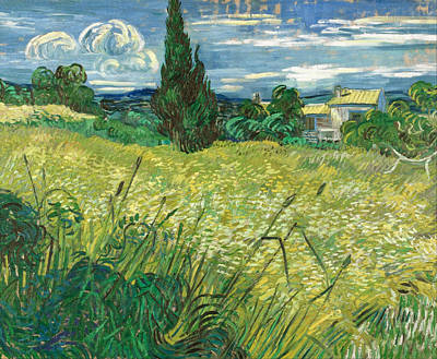 Farmland Painting - Green Wheat Field With Cypress by Vincent van Gogh