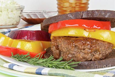 Photograph - Grilled Hamburger On Toasted Pumpernickel Bread by Vizual Studio