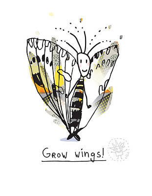 Drawing - Grow Wings 1 by Ingrid Lill