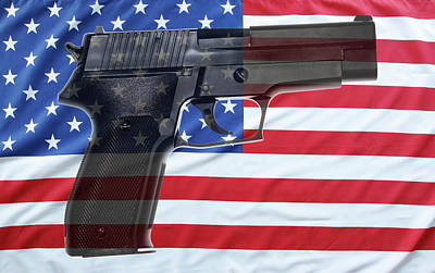 Gun And Flag Art Print by Les Cunliffe