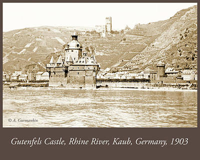 Photograph - Gutenfels Castle On The Rhine, Kaub, Germany, 1903, Vintage Phot by A Gurmankin
