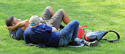 Photograph - 2 Guys On The Grass by Cora Wandel