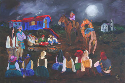 Gail Daley Wall Art - Painting - Gypsy Troupe by Gail Daley