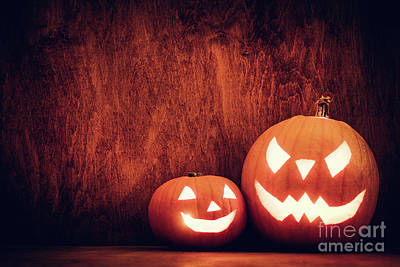Horror Photograph - Halloween Pumpkins Glowing, Jack-o-lantern by Michal Bednarek