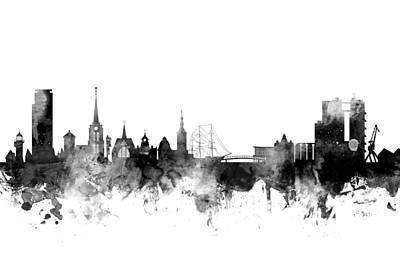 Sverige Digital Art - Halmstad Sweden Skyline by Michael Tompsett