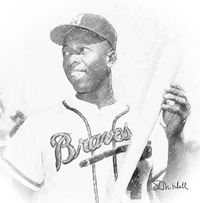 Drawing - Hank Aaron by Stephen Mitchell