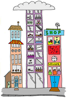 Whimsical Drawings Photograph - Hand Drawn Line Drawings Of Various Whimsical Houses Shops And B by Matthew Gibson