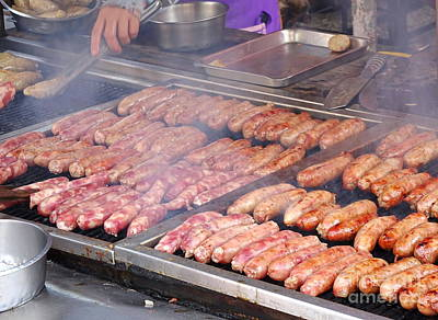 Photograph - Handmade Sausages On The Grill by Yali Shi