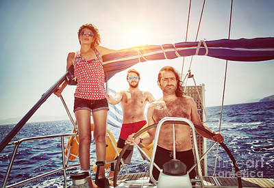Photograph - Happy Friends On Sailboat by Anna Om