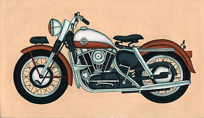 Harley - Davidson Old Byke Antique Vintage, Artwork India, Miniature Painting, Watercolor Painting. Art Print