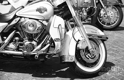 Photograph - White Harley Davidson Bw by Stefano Senise