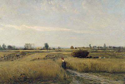 Realism Painting - Harvest by Charles-Francois Daubigny