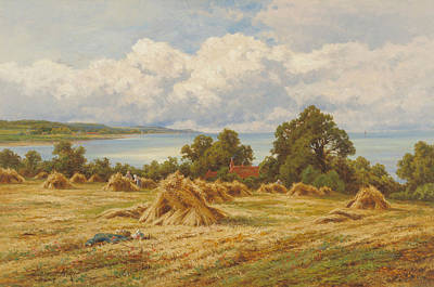 Harvest Time On The Sussex Coast Art Print by Henry Hillingford