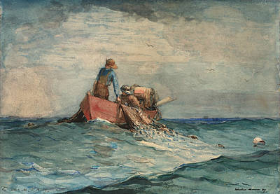 Painting - Hauling In The Nets by Winslow Homer