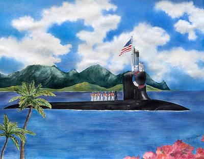 Submarine Painting - Hawaiian Homecoming by Lizbeth  Maxson-McGee