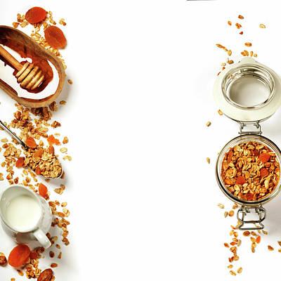Healthy Breakfast -  Homemade Granola, Honey And Milk Art Print by Natalia Klenova
