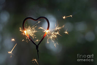 Photograph - Heart Shape Sparkler by Kati Finell