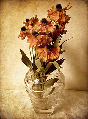 Vase Digital Art - Helenium by Jessica Jenney