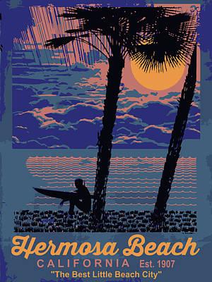 Redondo Beach Pier Wall Art - Digital Art - Hermosa Beach. by American Roadside