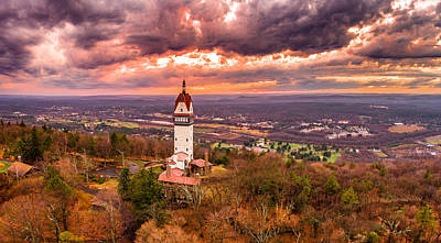 Photograph - Heublein Tower, Simsbury Connecticut, Cloudy Sunset by Petr Hejl