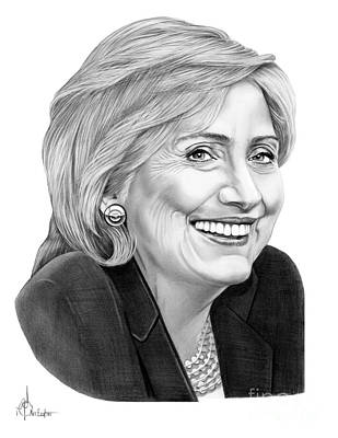 Democrat Drawing - Hillary Clinton by Murphy Elliott