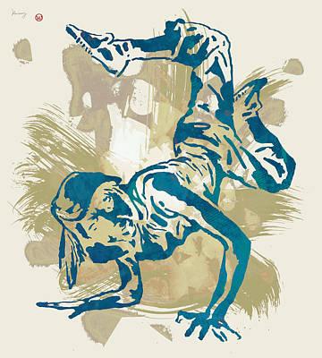 Hip Drawing - Hip Hop Street Dancing  Pop Art Poster   by Kim Wang