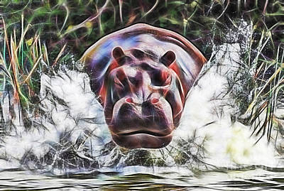 Hippopotamus Mixed Media - Hippo by Marvin Blaine