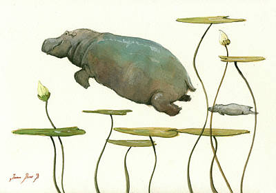Hippopotamus Wall Art - Painting - Hippo Mom With Baby by Juan Bosco