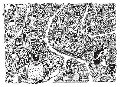 Abstract Collage Drawing - Hipster Doodle Monster Collage Background by Pakpong Pongatichat