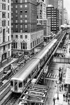 Historic Chicago El Train Black And White Art Print