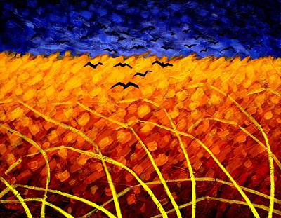 Wheat Field Painting - Homage To Van Gogh by John  Nolan