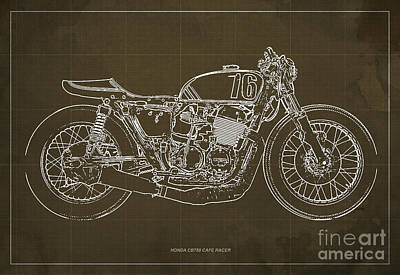 Racer Drawing - Honda Cb750 Cafe Racer Blueprint by Pablo Franchi