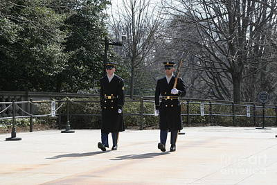 Photograph - 2 Honor Guard At Arlington Cemetery by April Sims