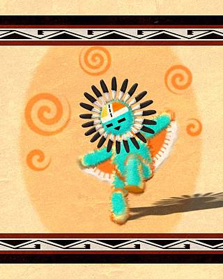 Digital Art - Dancing Hopi Sun Face Kachina by John Wills