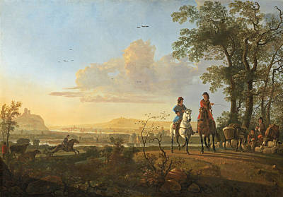 View Painting - Horsemen And Herdsmen With Cattle by Aelbert Cuyp
