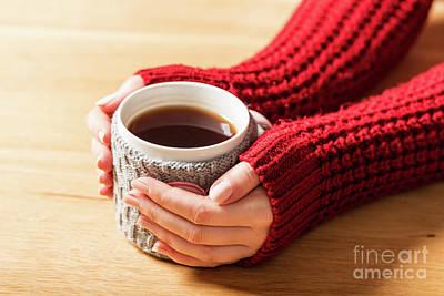 Finger Photograph - Hot Mug Of Tea Warming Woman's Hands In Retro Jumper. by Michal Bednarek