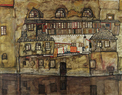 Townscape Painting - House Wall On The River by Egon Schiele