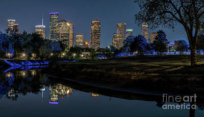 Skylines Photograph - Houston Skyline At Night by Tod and Cynthia Grubbs