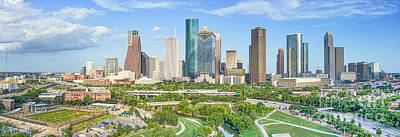 Houston Aerial Skyline Panorama Art Print