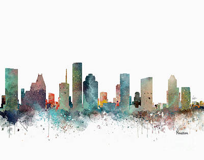 Painting - Houston Texas Skyline by Bri B