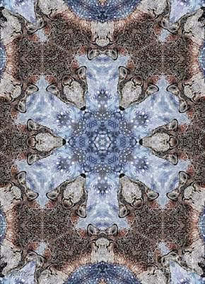 Mixed Media - Howling Gray Wolf Kaleidoscope by J McCombie