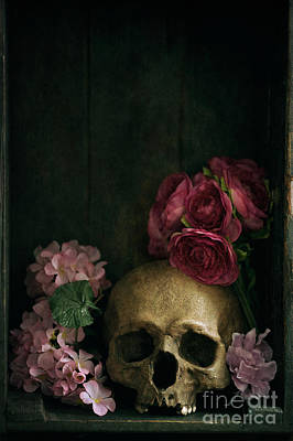 Photograph - Human Skull With Flowers by Lee Avison