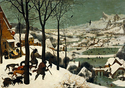 Dogs In Snow Painting - Hunters In The Snow by Pieter Bruegel the Elder